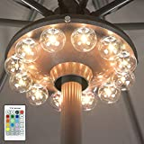 BIGMONAT Battery Operated Hanging Lights Patio Umbrella Light RF Remote Control,12 Colors Changing Pole Light for Umbrella,Brightness Dimmable and Timer Setting,250lumen Super Bright