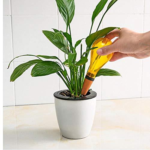 1x casa Amarilla Plantas Flores Dispositivos automáticos de riego automático de rociadores de Agua alimentador automático de PP Cerámica Forma de Bulbo