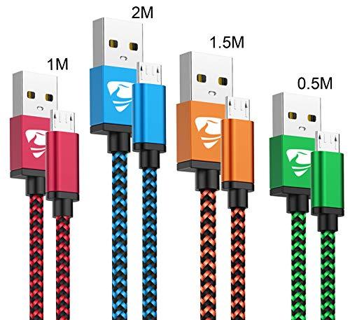 Yosou Cavo Micro USB [4 Pezzi:0.5M,1M,1.5M,2Metri] Nylon Intrecciato Cavo Android Ricarica Rapida e Trasferimento Dati,Compatibile con Samsung S7/Edge/S6/S5,J7/J6/J5,Huawei,Sony,HTC,Honor,PS4,LG
