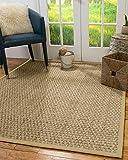 NaturalAreaRugs 100%, Natural Fiber Handmade Basketweave, Seagrass Rug, 2' x 3' Sand Border