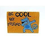 KOOK TIME Koko Doormats. Be Cool My Friend Cat Paillasson d'entrée en Fibre de Coco et PVC 40 x 60 cm