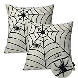 Booque Valley Halloween Pillow Covers, Set of 2 18 x 18 Inch Spiders and Web Cushion Covers, Hand Stitched Black Spiders on Natural Poly Linen Pillow Cases for Holiday Decoration, 2020 New Design