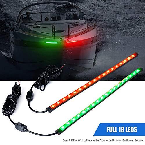 """Maliyaw 12\""""LED-Boots-Bogen-Navigationslicht-Ausrüstungs-Heck-Lichter für Marineschiff-Ponton-Yacht - 1 Paar - Rot und Grün."""