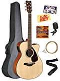 Yamaha FSX800C Solid Top Small Body Acoustic-Electric Guitar - Natural Bundle with Gig Bag, Tuner, Strings, Strap, Picks, Austin Bazaar Instructional DVD, and Polishing Cloth
