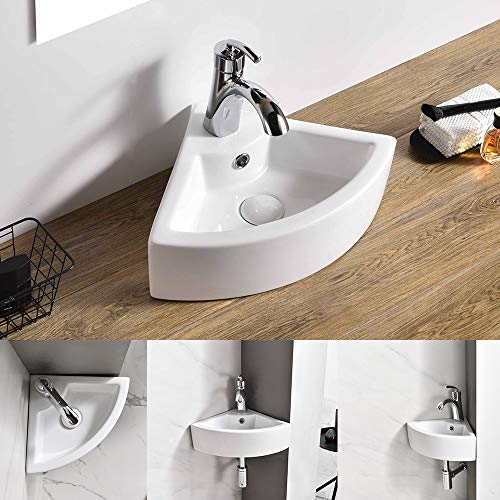 AWESON Small Corner Wall Mount Vessel Sink,White Vitreous China, Above Counter Corner Sink with Single Faucet Hole...