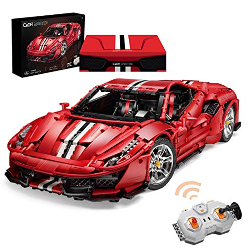 Leic RC Technic Sports Car Model CaDA 3187Pcs 1:8 2.4G RC Supercar Racing Car Vehicle Bricks Model for Ferrari 488 Pista Compatible with Lego