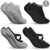 Zacro 4Pcs Calcetines-Yoga Antideslizantes de Mujeres Deportivos para Ejercicio Interior,Cómodo Pilates,Yoga,Fitness,etc (Negro y Gris)