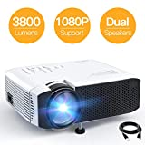 Mini Projector, APEMAN 3800L Brightness Projector, Support 1080P 180' Display, Portable Movie Projector, 45,000Hrs LED Life and Compatible with TV Stick, PS4, HDMI, TF, AV, USB for Home Entertainment