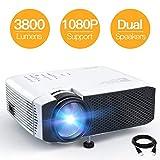 APEMAN Mini Projecteur 3800 Lumens, 1080P Supporté Portable Vidéoprojecteur Full HD, 45000 Heures Multimédia Cinéma Maison LED Rétroprojecteur, HDMI/VGA/AV/TF/USB Compatible avec TV Box/PS4/Smartphone