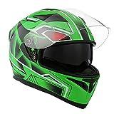 1Storm Motorcycle Street Bike Dual Visor/Sun Visor Full Face Helmet Panther Green, Size Large (57-58 cm,22.4/22.8 Inch)
