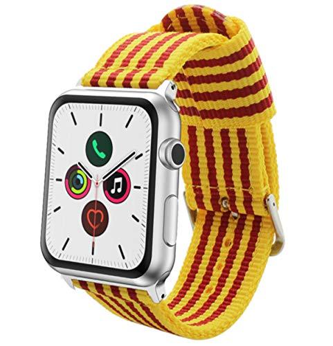 Estuyoya - Pulsera de Nailon Compatible con Apple Watch Colores Bandera de Catalunya, Ajustable Estilo Deportiva Casual Elegante para 42mm 44mm Series 6/5 / 4/3 / 2/1 / SE/Nike+