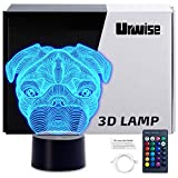 3D Night Light, Urwise Pug 3D Night Lamp 16 Color Changing Light with Remote Control Animal Toys Bedroom Home Decor for Boys Girls and Kids Birthday Christmas Gift 3238