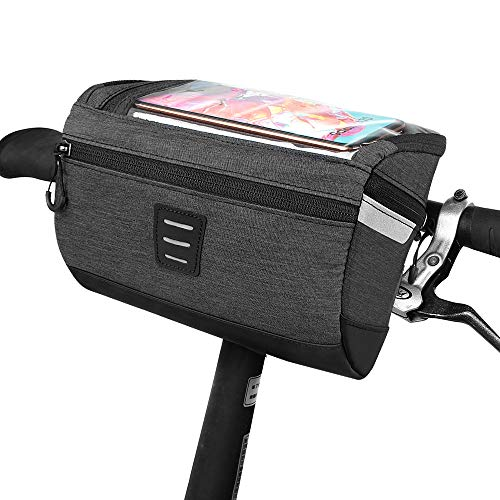opamoo Bicycle Handlebar Bag, Front Frame Bag with Transparent Waterproof Touch Screen Mobile Phone Bag, and Reflective Stripe Polyester Bag, Safe Night Riding for Road Mountain Bike Outdoor