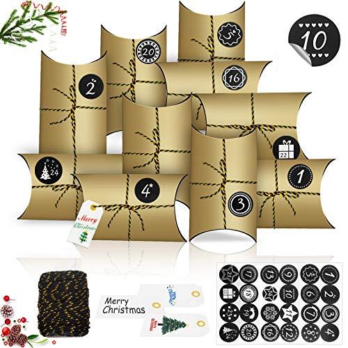 24 Calendario de Adviento, Almohada Cajas,DIY Bolsa de Regalo Navidad,almohada cajas de regalo con 24 Pegatinas,Rellenar Calendario de Adviento,Cajas de Regalo Pequeñas con Adhesivos Digitales (B)