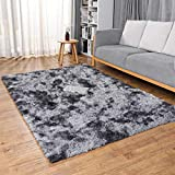 Ophanie Upgraded Machine Washable Area Rugs for Living Room, Ultra-Luxurious Soft and Thick Faux Fur Shag Rug Non-Slip Carpet for Bedroom, Baby Room, Nursery Decor Rug, 4x5.3 Feet Black/Gray (OP501X1)