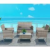 ArtLife Polyrattan Sitzgruppe Fort Myers grau-meliert | dunkelgraue Bezüge | 4 Personen | Lounge Rattanoptik Gartenmöbel-Set für Balkon oder Terrasse - 3