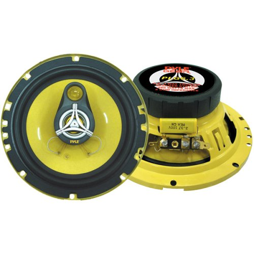 """Car Three Way Speaker System - Pro 6.5 Inch 280 Watt 4 Ohm Mid Tweeter Component Audio Sound Speakers For Car Stereo w/ 40 Oz Magnet, 2.25"""" Mount Depth Fits Standard OEM - Pyle PLG6.3 (Pair)"""