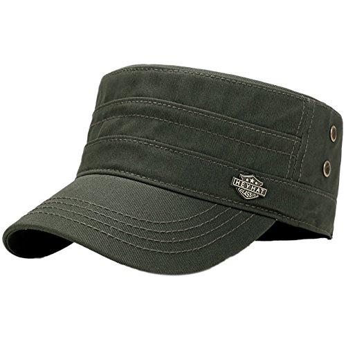 Aesy Gorras de Hombre Plana, Gorras de Béisbol, Ajustable Algodón Sombrero Cabeza Gorras de Militar Plana (Verde)