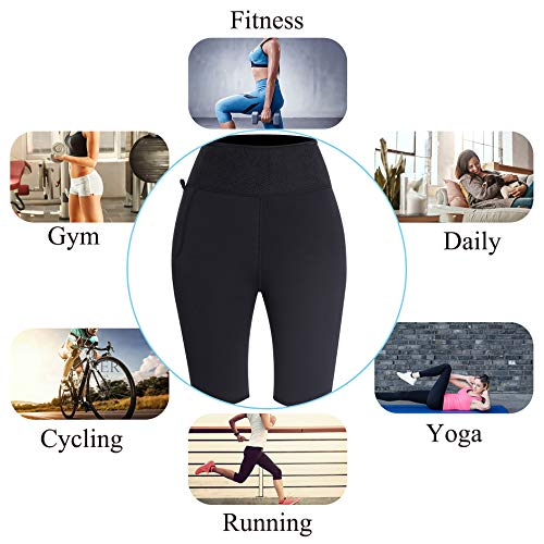 LODAY Neoprene Sauna Shorts with Pocket for Women Weight Loss Sweat Pants Workout Body Shaper Yoga Leggings (Black, XL) 5