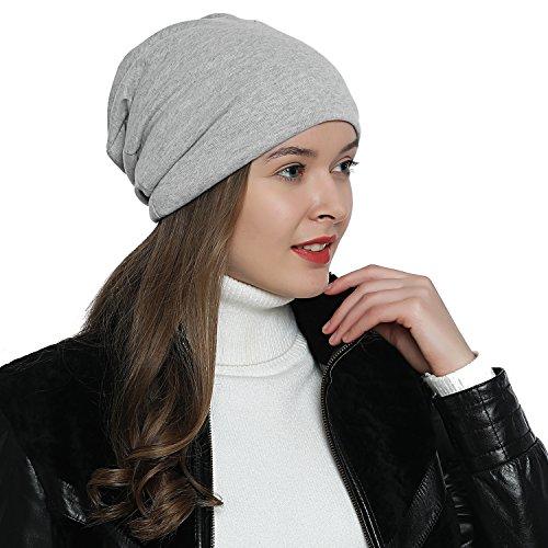 DonDon Bonnet femmes toute saison jersey bonnet Slouch Beanie respirant et doux s'adaptant à toutes les tailles de tête - Gris clair