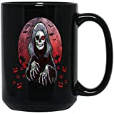 The Flight Grim Reaper Halloween Theme Coffee Mug Ceramic (Black, 15 OZ)