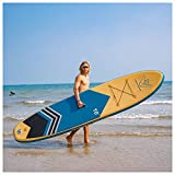 WAVEY BOARD Inflatable 10' Stand Up Paddle Board for Adult Premium SUP Blow up Paddle Board for Youth Kids Fishing (6' Thick) with ISUP Accessories Backpack Bag, Pump, Adjustable Paddle, Blue