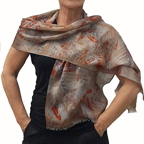 Womens Cashmere Scarf in Beige and Orange, Thin Light Soft...