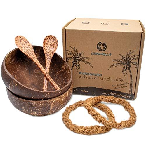 Chinchilla® 2er Set Kokosnuss Schalen + Holzlöffel + Halterung   Schüssel für Buddha Bowl, Acai...