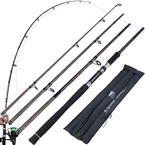 Canna da pesca Sougayilang Canne da carpa Canna da pesca spinning ultraleggera in fibra di carbonio, canna da pesca portatile a 4 sezioni con comoda impugnatura in EVA Canne da pesca alla carpa-27