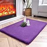 Ashler Ultra Soft Faux Rabbit Fur Chair Couch Cover Area Rug for Bedroom Floor Sofa Living Room Purple-Rectangle 2 x 3 Feet
