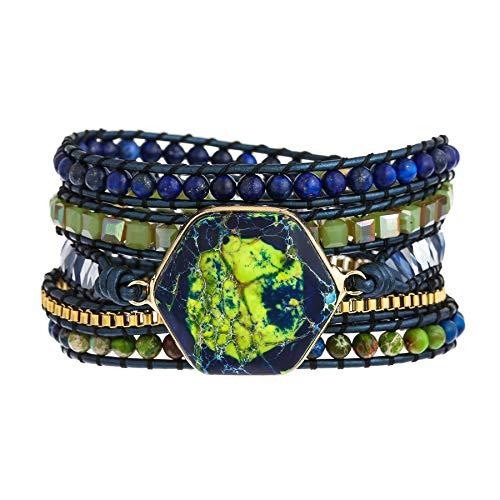 Plumiss Handmade Imperial Jasper Hexagram Green Blue Stone 5...