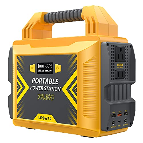 Portable Power Station 300W, LIPOWER 296Wh/80000mAh Solar Power Generator, with