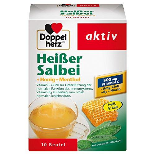 Doppelherz Heißer Salbei mit Honig und Menthol – Mit Zink zur Unterstützung der normalen Funktion des Immunsystems – 1 x 10 Beutel