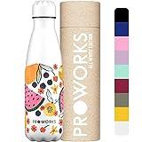 PROWORKS Bottiglia Acqua in Acciaio Inox, Senza BPA Vuoto Isolato Borraccia Termica in Metallo per Bevande Calde per 12 Ore & Fredde 24 Ore, Borraccia per Sport e Palestra - 750ml - Frutti Tropicali