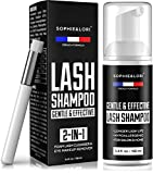 Eyelash Extension Cleanser - Lash Shampoo with Brush - Shampoo for Eyelashes - French Formula - Makeup & Mascara, Oil & Dust Remover - Gentle Formula for Sensitive Eyes - For Salon Use And Home Care