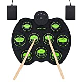 ammoon Roll Up Drum Kit, Portable Electronic Drum Set 9 Drum Practice Pads with Headphone Jack 2 Foot Pedals for Kids Children Beginners (No Speakers)
