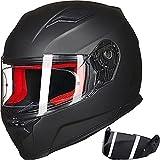 ILM Motorcycle Street Bike Full Face Helmet Anti-Fog Pinlock Shield Snowmobile Helmets DOT for Men Women (Matt Black, XL)