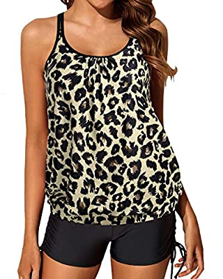 The blouson tankini swimsuits feature a leopard swim top, then a black mid rise boyleg bottom. The athletic bathing suits with loose fit design have great slimming tummy control that flatter all figures, covering your imperfections, yet still showing...