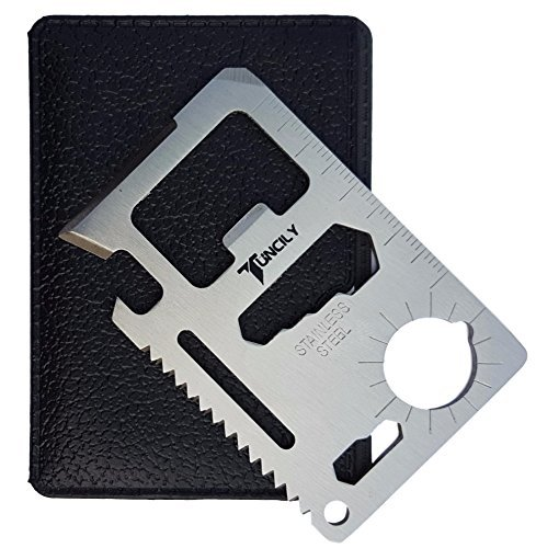 Tuncily Credit Card Survival Tool - 11 in 1 Multipurpose Beer Bottle Opener Portable Wallet Size Useful Pocket Multitool Useful for him Husband Boyfriend Father