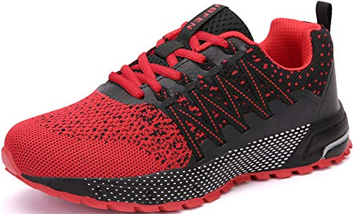 SOLLOMENSI Running Shoes Mens Womens Trainers Lightweight Outdoor Sports Shoes Athletic Gym Fitness Walking Run Jogging Walking Casual Sneakers 8 UK/42 EU H Red
