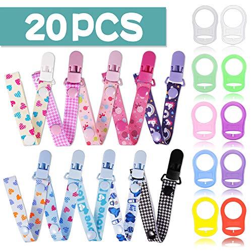 20 PCS Schnullerband Baby mit Silikonring für Schnuller, Schnullerketten clip für Lätzchen Dreieckstuch Sauger Schnuller für Baby Junge Mädchen JAANY (20pcs)