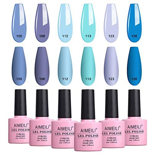 AIMEILI Soak Off UV LED Gel Nail Polish Blue Color Set Of 6pcs X 10ml - Kit Set 32