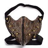 LIUS Masque Masque Steampunk Gothic Unisex Punk Gear Rivet Half Face Halloween Cosplay Accessoire...