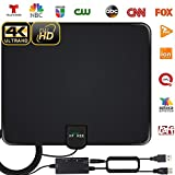 2020 Newest HDTV Antenna, HD Indoor Digital TV Antenna 130 Miles Range with Amplifier Signal Booster 4K HD VHF UHF for Life Local Channels Support All Television -16.5ft Coax Cable