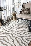 nuLOOM Zebra Hand Tufted Plush Wool Area Rug, 3' x 5', Grey