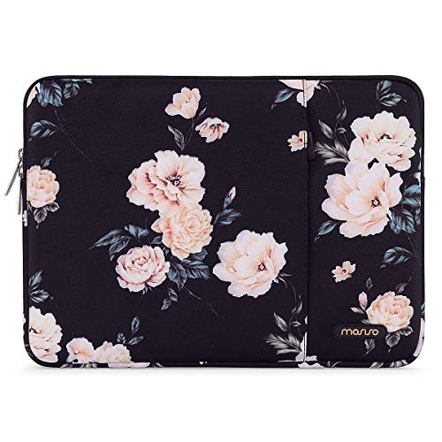 MOSISO Laptop Sleeve Case Compatible with 15 inch MacBook Pro Touch Bar A1990 A1707, 14 HP Acer Chromebook, 2019 Surface Laptop 3 15, Polyester Vertical Camellia Bag with Pocket