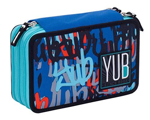 Astuccio 3 Zip YUB Graffiti, Blu, Attrezzato per la scuola: matite, penne