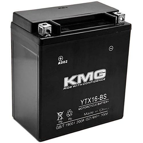 KMG YTX16-BS Sealed Maintenance Free 12V Battery High Performance SMF OEM Replacement Powersport Motorcycle ATV Scooter Snowmobile Watercraft