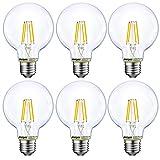 Energetic Lighting Dimmable LED Edison Light Bulb, G25 Globe, 60W Equivalent, 5000K Daylight, E26 Standard Base, UL Listed, 6-Pack
