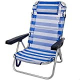 Aktive 53955 - Silla plegable playa, con cojín, Silla multiposición, 5 posiciones, 60x47x83 cm,...